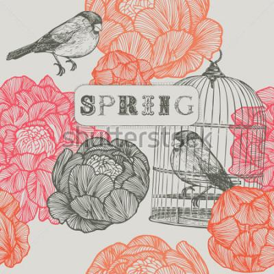 Картина Весенний фон. Птицы и клетки. Бесшовный узор