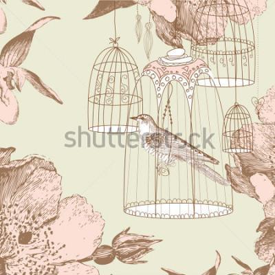 Картина старинная открытка с птицей в клетке