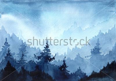 Картина Акварель рисованной иллюстрации с Зимний лес. Зимний пейзаж с елочными деревьями. Рождественская открытка