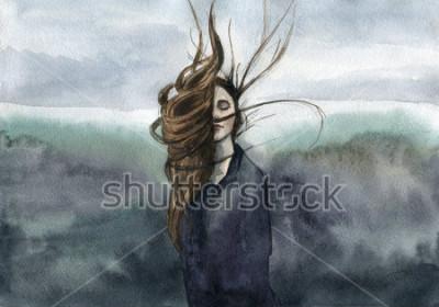 Картина волосы развеваются на ветру, девушка, капризная акварель