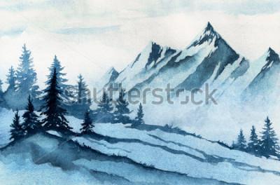 Картина Акварель иллюстрации. Зимние горы пейзаж, деревья, небо.