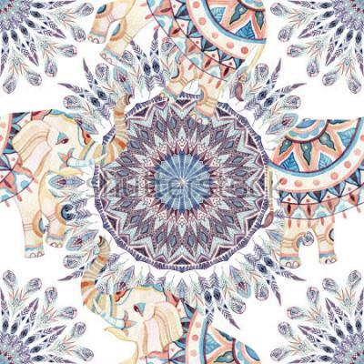 Картина Акварель этнических слон и перо мандалы фоне. Украшенные индийские слоны на белом фоне. Ручная роспись иллюстрации для бохо, племенной дизайн