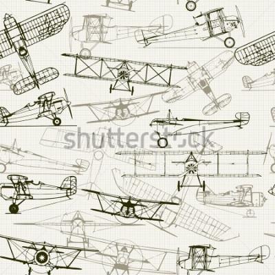Картина Винтаж бесшовного фона. Стилизованный состав иллюстрации самолета. текстура графической бумаги может быть отключена. Может использоваться для обоев, залив рисунков, фонари веб-страницы, текстур поверх