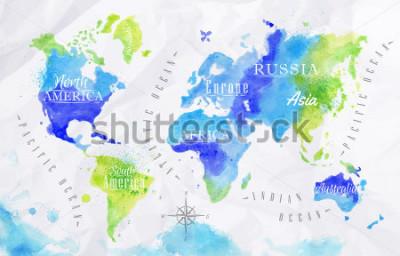 Картина Акварельная карта мира на зеленых и синих тонах