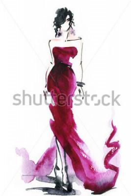 Картина женщины с элегантным платьем. абстрактная акварель. мода фон