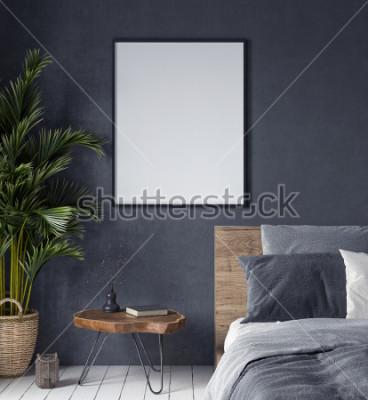 Картина Макет плаката в интерьере спальни, этнический стиль, 3d визуализация