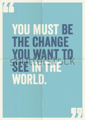 Картина Вдохновительные цитаты мотивации Махатмы Ганди, на фоне плаката.