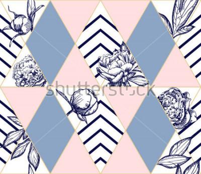 Картина Стильный модный геометрический бесшовный узор с цветами пиона. Идеальная текстура для моды. Элемент дизайна вектор