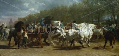 Картина ЯРМАРКА ЛОШАДЕЙ, Роза Бонер, 1852-55, французская живопись, холст, масло. Конный рынок в Париже на бульваре де Лк90 был окрашен в течение 3 лет. При зарисовке на сайте для