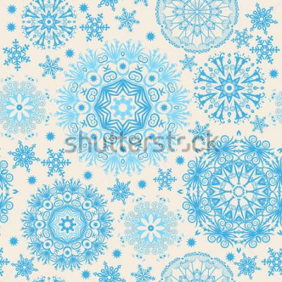 Картина Красивые снежинки. Абстрактный бесшовный фон с модными элементами. Векторный шаблон для веб-дизайна, текстиля, графического дизайна.