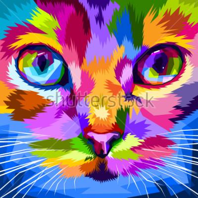Картина лицо кота близко к разноцветным глазам