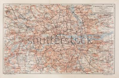 Картина Старинная карта Лондона и окрестностей - картина из коллекции книг Meyers Lexicon, написанная в 1908 году.