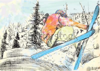 Картина Зимний отдых - лыжник. Вектор несколько слоев рисованной иллюстрации. Как минимум четыре слоя на каждой картинке. Цветовые слои - максимум шестнадцать цветов. Черные контуры в специальном верхнем слое