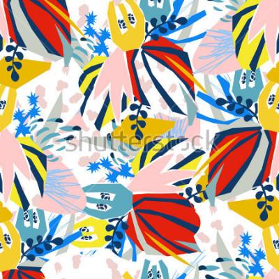 Картина Абстрактные цветочные элементы бумаги коллаж. Векторная иллюстрация рисованной. Футболки, приглашения, открытки, дизайн футболки. Бесшовные ша