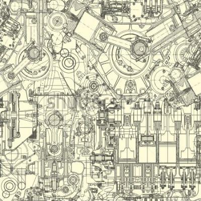 Картина Рисунок рисунка двигателя, фон. Бесшовные шаблоны могут использоваться для обоев, узких заливок, фона веб-страницы, текстуры поверхности.