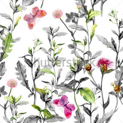 Картина Луговые цветы, травы, травы. Безшовная травяная основа в черно-белых цветах для дизайна моды. Акварель
