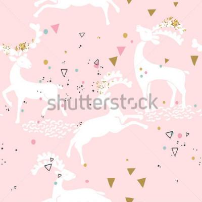 Картина бесшовный узор из оленей