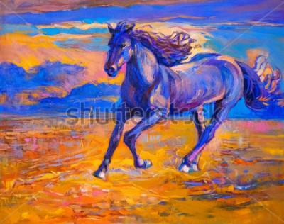 Картина Картина маслом бегущей лошади. Современное искусство