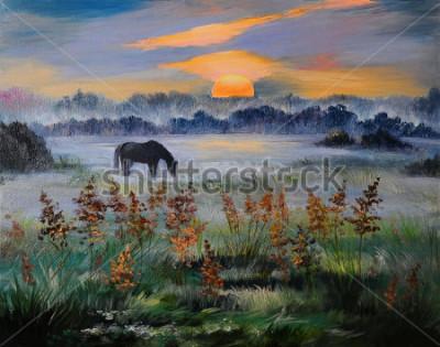 Картина Картина маслом поля на закате