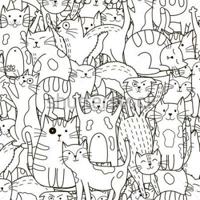 Картина Каракули кошек бесшовные модели. Черно-белый милый фон. Отлично подходит для раскраски, упаковки, печати, ткани и текстиля. Векторная иллюстрация