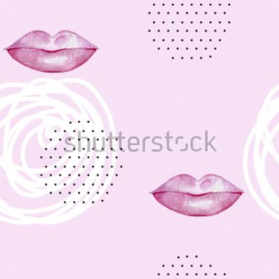 Картина Ручной обращается акварель розовые губы. Абстрактный бесшовный паттерн