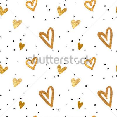 Картина Бесшовный фон в золотых сердцах. Рисование от руки стиль кисти. Векторная иллюстрация металлик.