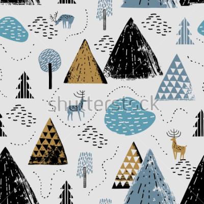Картина Безшовная картина с живописными горами, оленями и лесом. Идеально подходит для открыток, приглашений, обоев, баннеров, детского сада, детского душа, оформления детских комнат. Скандинавский пейзаж.