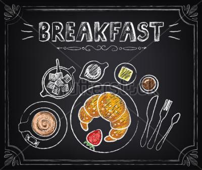 Картина Старинный плакат. Завтрак. Круассан и кофе. Установить на доске для дизайна в стиле ретро