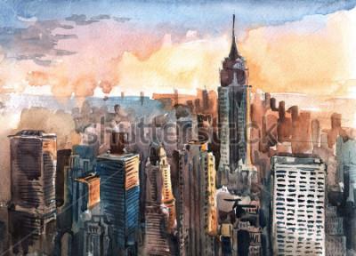 Картина Акварель небоскребов Манхэттена на закате - башни Нью-Йорка