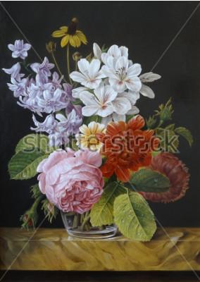 Картина Розы в стеклянной вазе. Маки, фиалки, ромашки. Картина. Натюрморт.