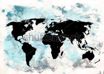 Картина Фон карты мира. Гранж фон Абстрактное эмоциональное искусство. Элемент современного дизайна.