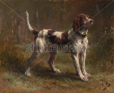 Картина ОГРАНИЧЕННЫЙ БРИКЕТСКИЙ ДОМ, Роза Бонер, 1856, французская живопись, холст, масло. Это был портрет собаки виконта дАрмаля. Bonheur был мастером живописи животных и самым известным Eur