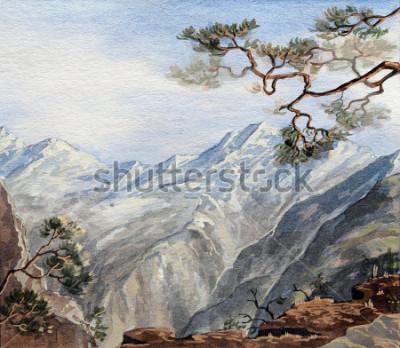Картина рисованный эскиз с горы