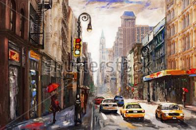 Картина Живопись маслом на холсте, улица Нью-Йорка, женщина под красным зонтом, современное произведение искусства, американский город, иллюстрация Нью-Йорк