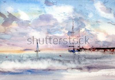 Картина акварельный порт морской пейзаж