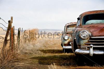Картина винтажные автомобили заброшены и ржавеют в сельской местности штата вайоминг