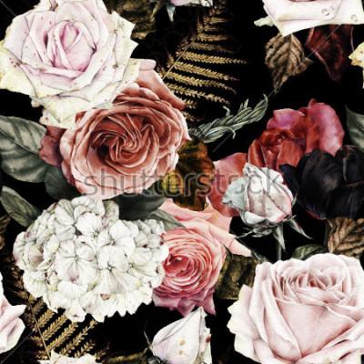 Картина Бесшовный цветочный узор с розами, акварель.