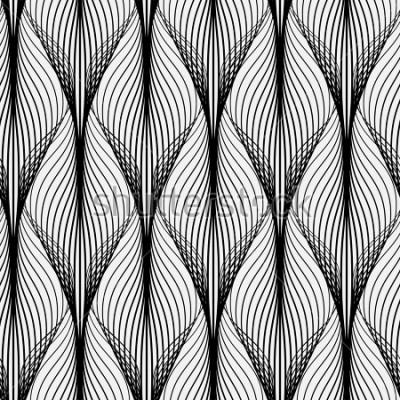 Картина Абстрактный геометрический рисунок с волнистыми линиями. Бесшовный фон Монохромный орнамент. Растеризованная версия