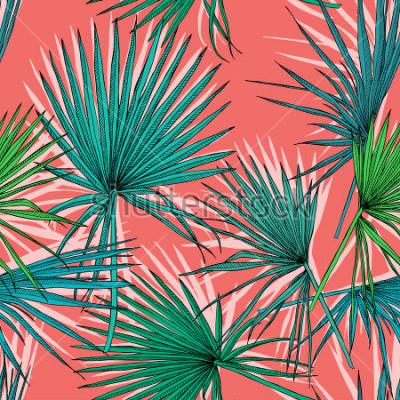 Картина Бесшовный фон с изображением зеленой веерной пальмы. Векторная иллюстрация