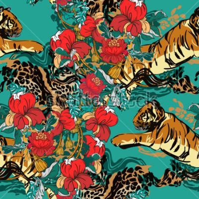 Картина Красивый абстрактный тигр с красными цветами и тренд бесшовные. Дизайнерская ткань.