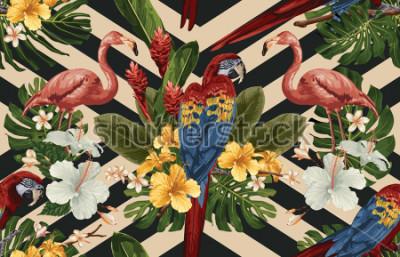 Картина Тропический узор с тропическими цветами, алый ара и фламинго. Тропическая иллюстрация в винтажном гавайском стиле.