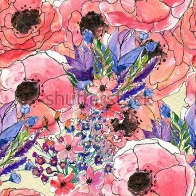 Картина Бесшовные цветочные акварели