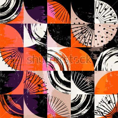 Картина Абстрактный фоновый узор, с кругами, точками, квадратами, штрихами и брызгами