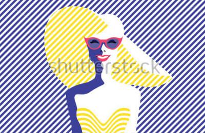 Картина Красивая молодая женщина с солнцезащитные очки и шляпу, ретро-стиле. Поп арт. Летний отдых Векторная иллюстрация eps10