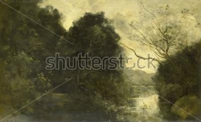 Картина Пруд в лесу, Камиль Коро, 1840-75, французская живопись, масло на панели.
