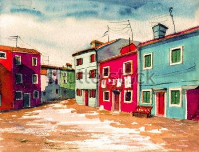 Картина Знаменитая Венеция Итальянский остров яркие цветные дома акварельная живопись иллюстрация плакат рисованной работа текстильная картина фон холст