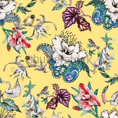 Картина Акварель рисованной бесшовные модели с тропическими летними цветами и экзотическими птицами на желтом фоне