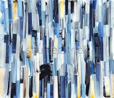 Картина Абстрактное искусство фон с разноцветными полосами и чирками. Текстура чернил на бумаге