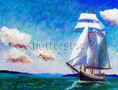 Картина Картина маслом - парусная лодка