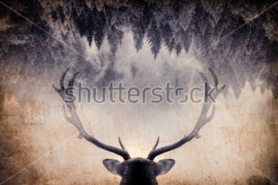 Картина Винтажная минималистичная двойная экспозиция с рогом и лесом